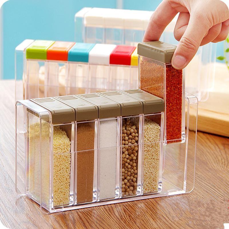 Creative Kitchen Condiment Box Six Pieces Condiment Bottles,Kitchen  Seasoning Box Salt Pepper Spices Storage