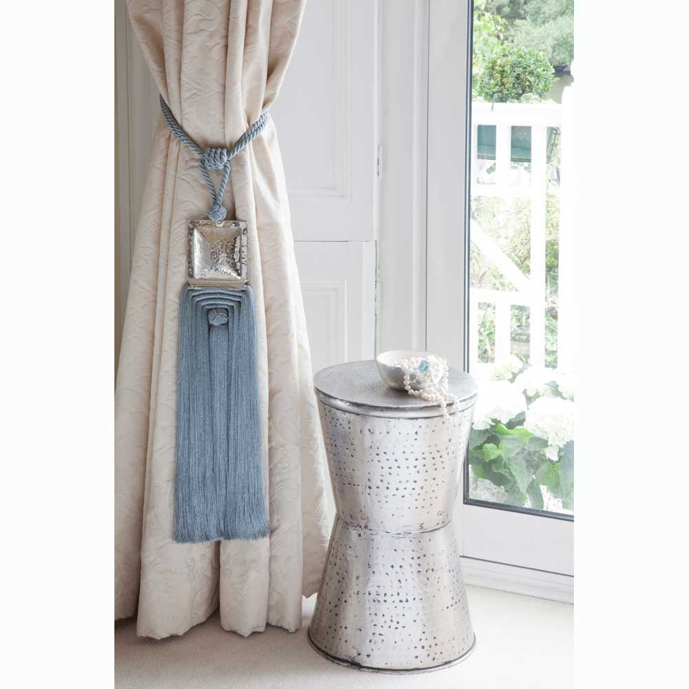 Furniture,Thermal Top Curtain In Vintage Living Room Tied With Nautical Cotton Rope Curtain Tie