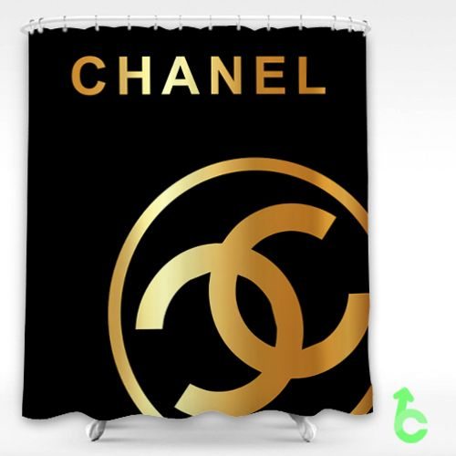 Chanel Big Gold Logo Dark Surface Shower Curtain