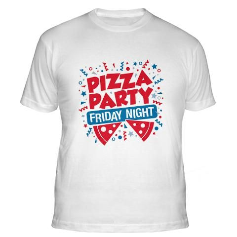Pizza Party Friday Night from Detour Designables #apparel #pizza #party #friday #night #tshirt #shirt #funny #saying