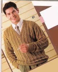 Resultado de imagem para blusa de lã masculina em trico receita