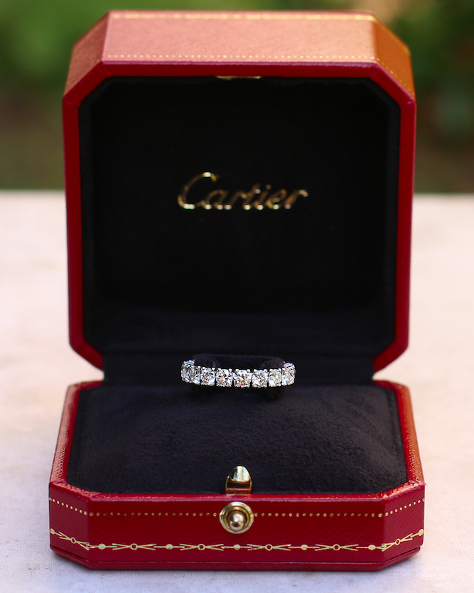 As the phrase coined by President Robert Hocq in 1972 goes Les Must de Cartier or Cartier, It's a must! for any jewellery collection. This is a stunning full eternity Cartier diamond ring. The platinum ring is set with 19 brilliant-cut diamonds with a total carat weight of 3.06 carat giving the ring a dazzling sparkle. #TheVintageJeweller #presidents