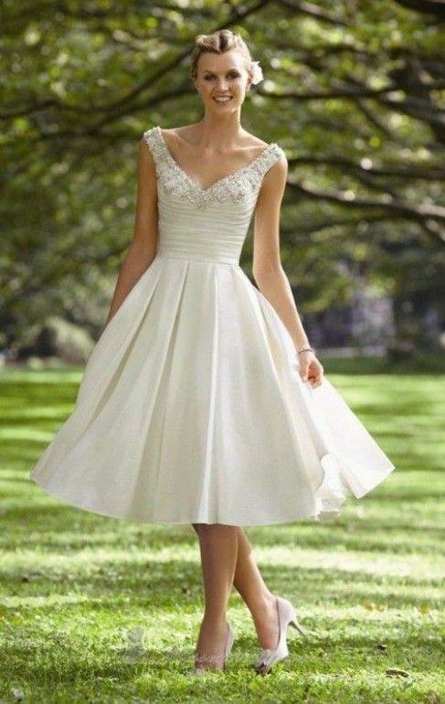 claudina - vestido de novia corto, longitud hasta de bajo de la