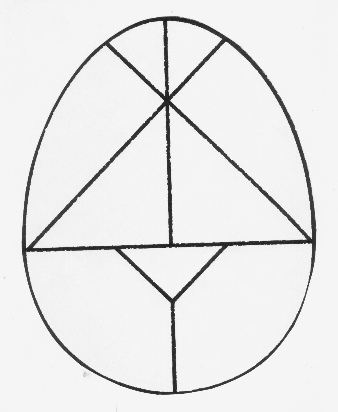 Easter egg tangram.  What shapes do I have?  What kind of triangles are found here?
