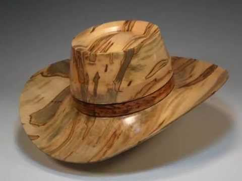 Wood turning a Wood Cowboy Hat is Conversational Sculptured Wood Hats to be  Worn or Displayed. The process of transforming a piece of rescued wood  (usually ... 96c3861f3f39