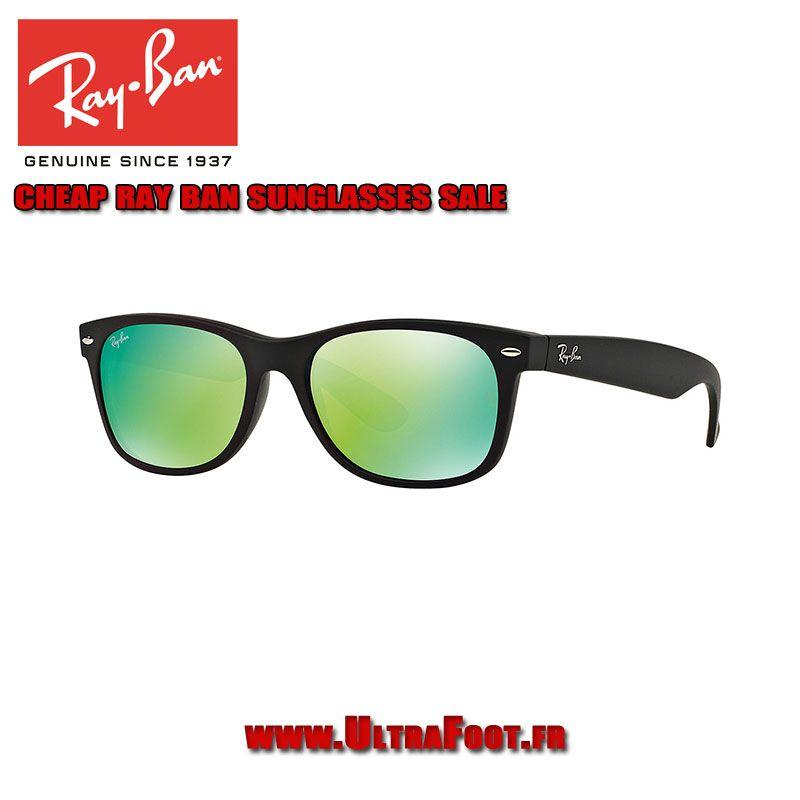 Ray-Ban New Wayfarer Lunettes de soleil Pas Cher miroir RB2132 55 Noir  Matte Vert 58d3a24bab35