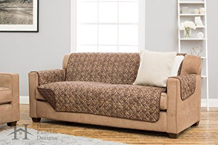 Katrina Collection Deluxe Reversible Stain Resistant Furniture Protector with Beautiful Printed Pattern. Includes Adjustable Straps. By Home Fashion Designs Brand. (Sofa, Chocolate)