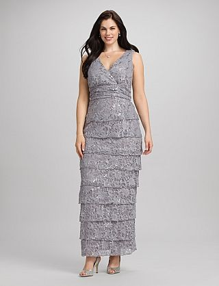 Plus Size Tiered Lace Dress | Dressbarn. $90.00, Silver or Mocha ...