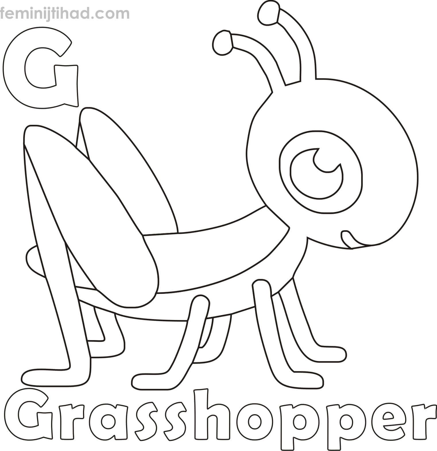 G For Grasshopper Coloring Pages For Kids In 2020 Coloring Pages Coloring Pages For Kids Animal Coloring Pages
