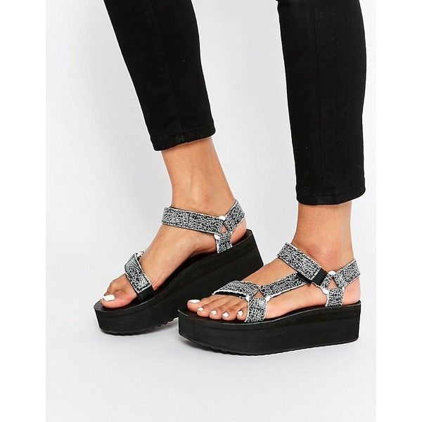 d1f817cf1d81 Teva Flatform Universal Crackle Black Sandals ( 84) ❤ liked on Polyvore  featuring shoes