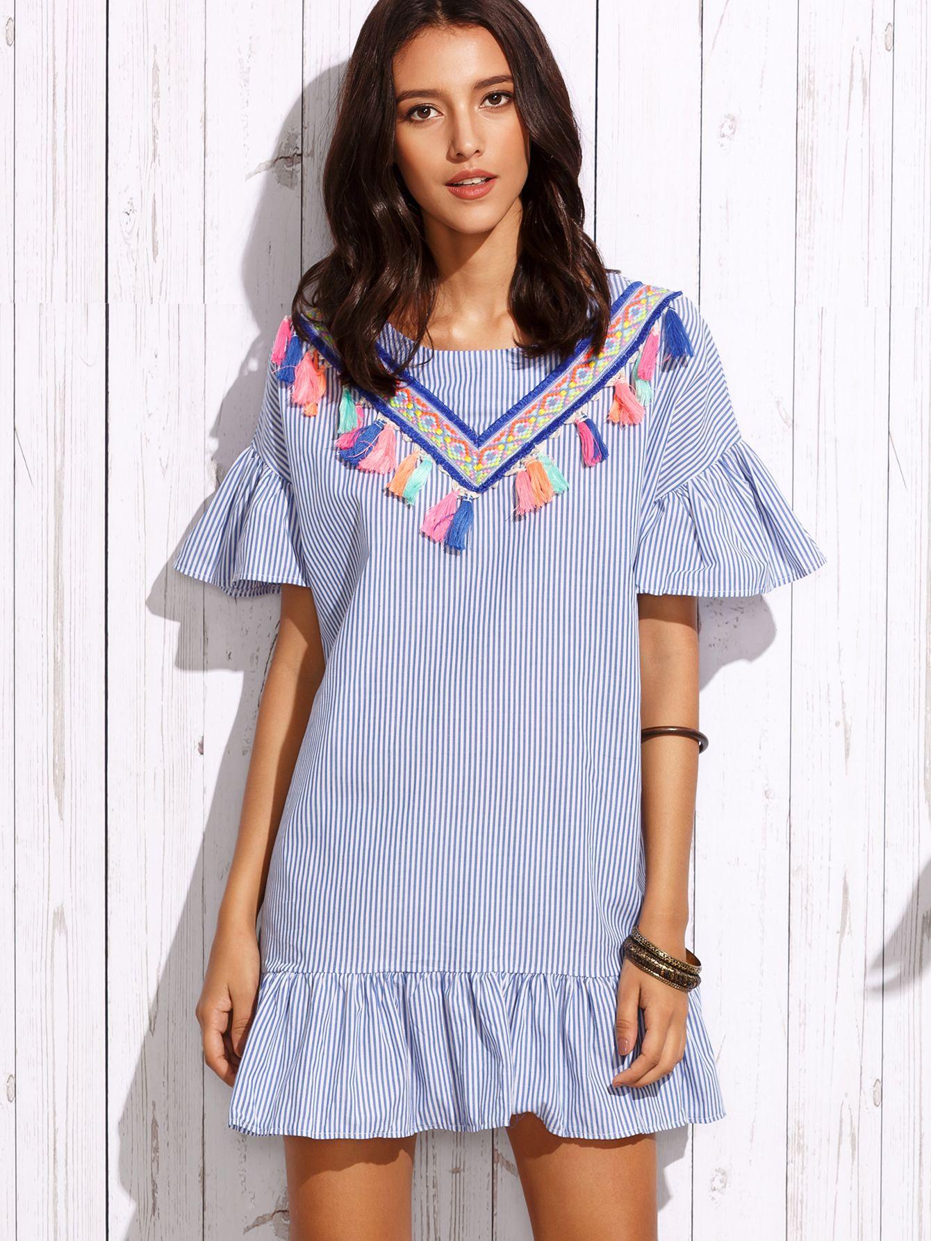 619c576c3 Vestido rayas verticales volantes con detalle de cinta bordada - azul-Spanish  SheIn(Sheinside)