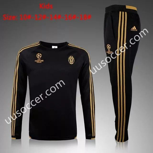 8481ceb1c 2015 16 European Champion Juventus Black Kids Youth Soccer Tracksuit ...