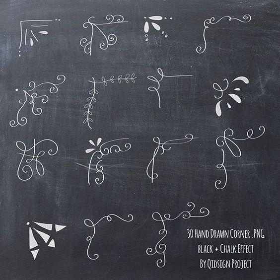 30 Hand drawn corner clipart chalk and black Scrapbook embellish Invitation Chalkboard Blog graphics commercial use #cardkit
