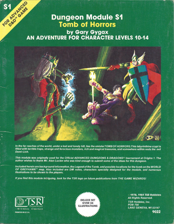S1 Tomb Of Horrors 1e Wizards Of The Coast Ad D 1st Ed Dungeon Masters Guild Tomb Of Horrors Dungeon Advanced Dungeons And Dragons