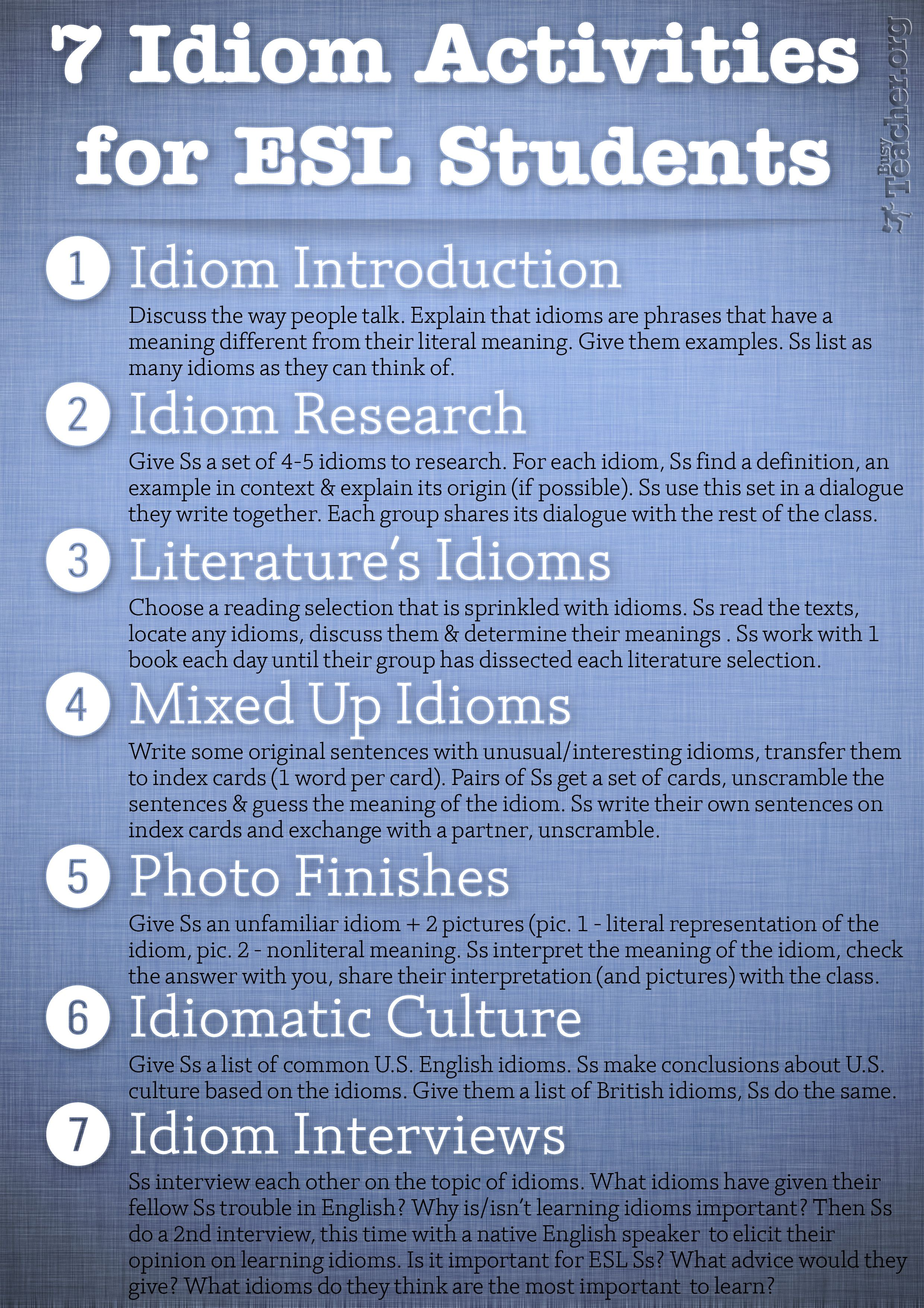 POSTER 7 Idiom Activities for ESL Students School