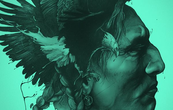 I love outlined works like this. Love the eagle incorporated into the hair.
