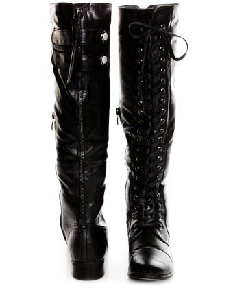 the best attitude authorized site info for Cool Knee High Lace up Boots No Heel - Leather Knee High Lace up ...