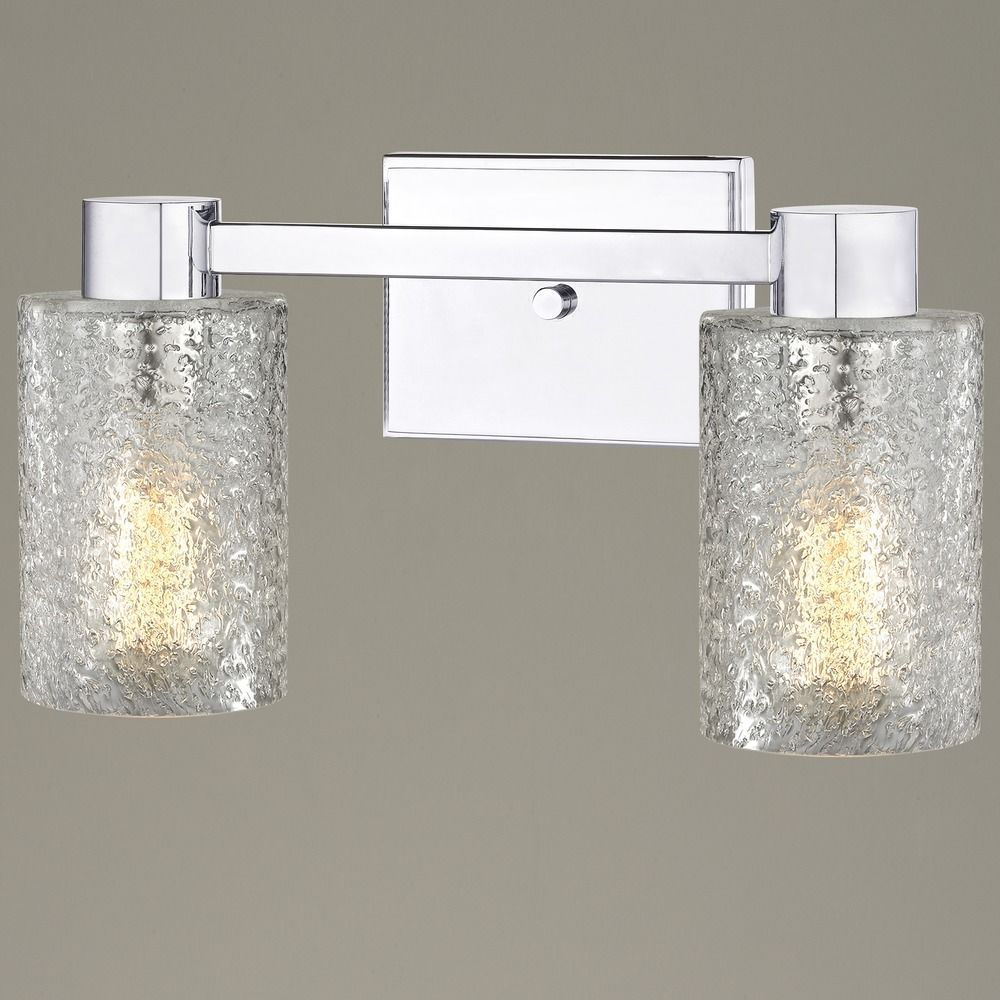 2 Light Ice Glass Bathroom Vanity Light Chrome Contemporary Bathroom Lighting Bathroom Vanity Lighting Glass Bathroom