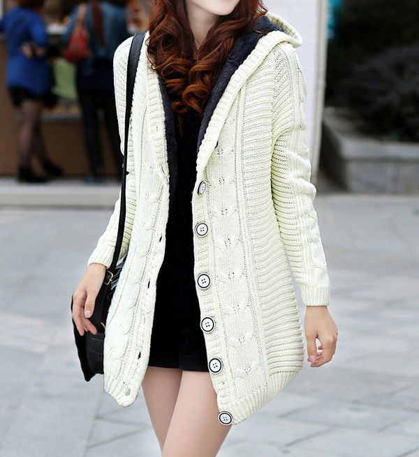 Single Breasted Chunky Cable Knit Long Sections Thickened Fleece ...
