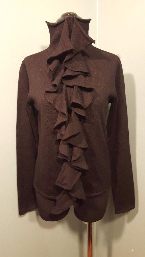 146302ba141 DKNY Black Merino Wool Ruffled Front Mock Neck Thin Knit Dress Sweater M  Euc  DKNY