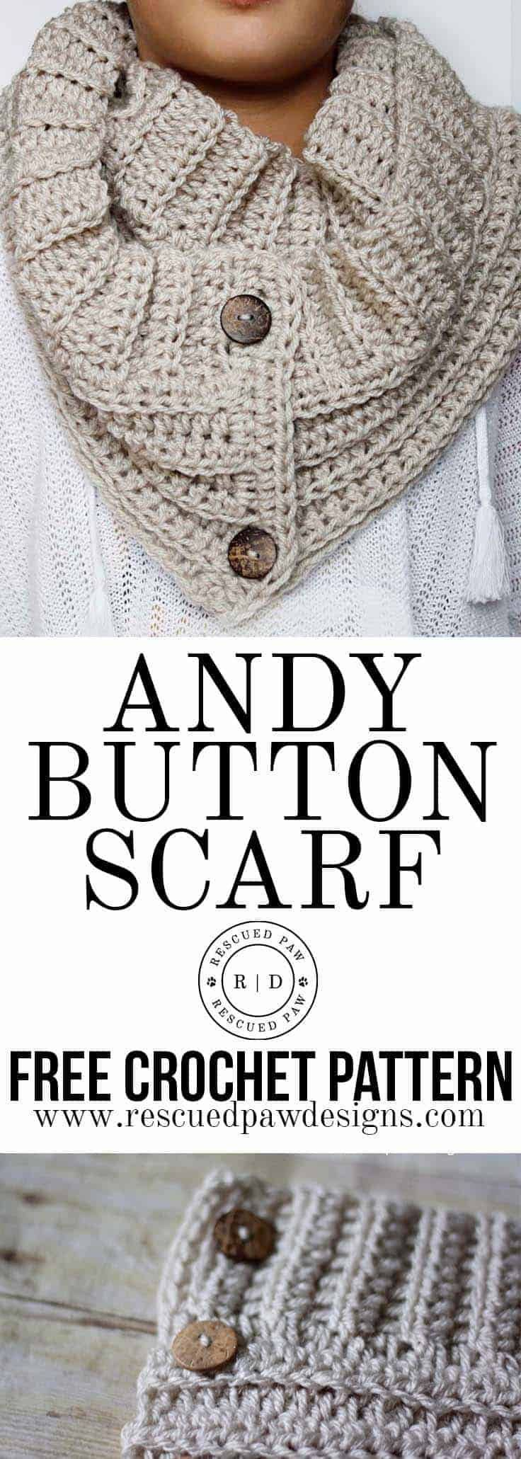 Andy Button Scarf Crochet Pattern   Patrón de tejer   Pinterest ...