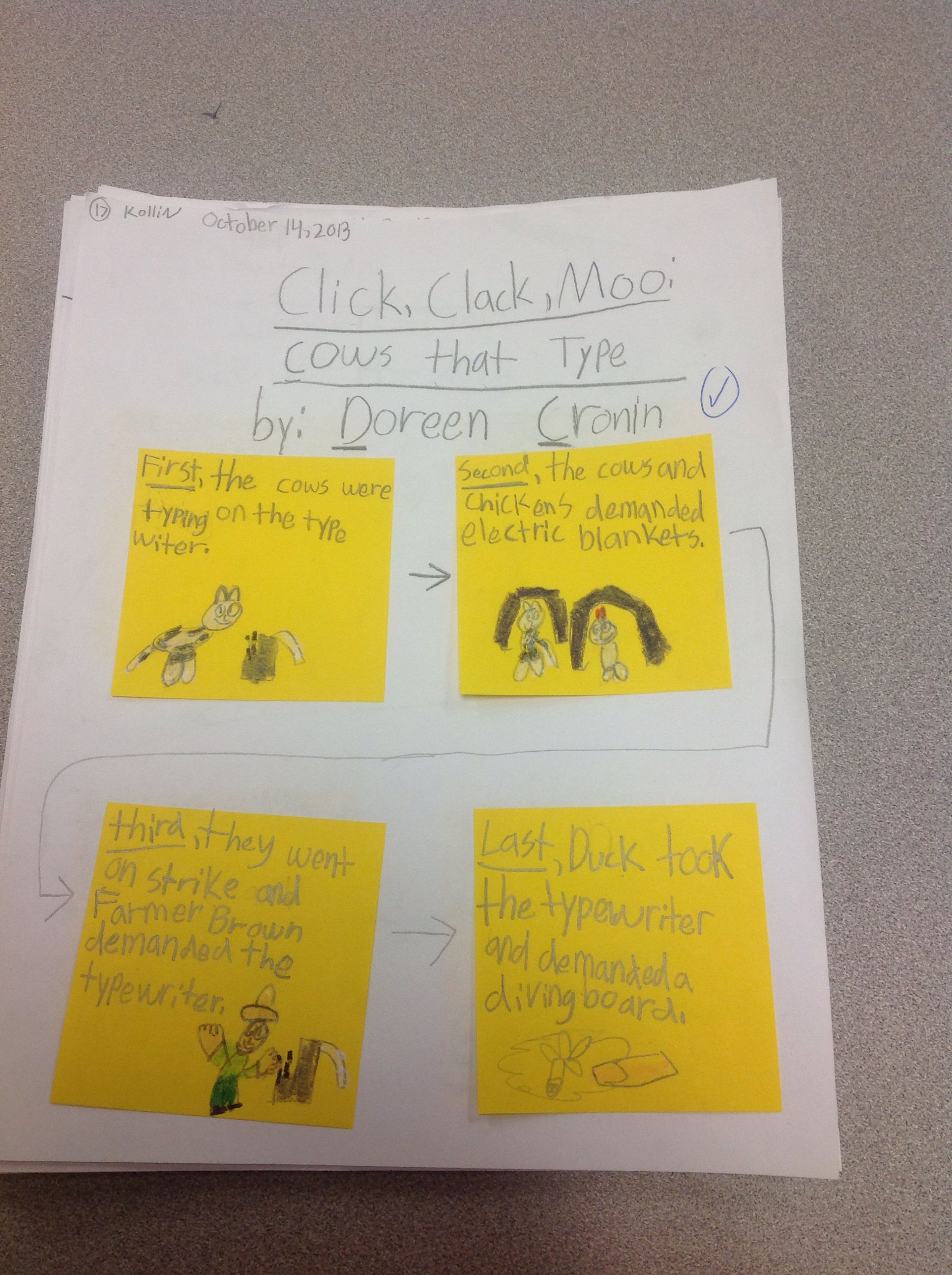 Sticky Note Summaries Using Transition Words And Main