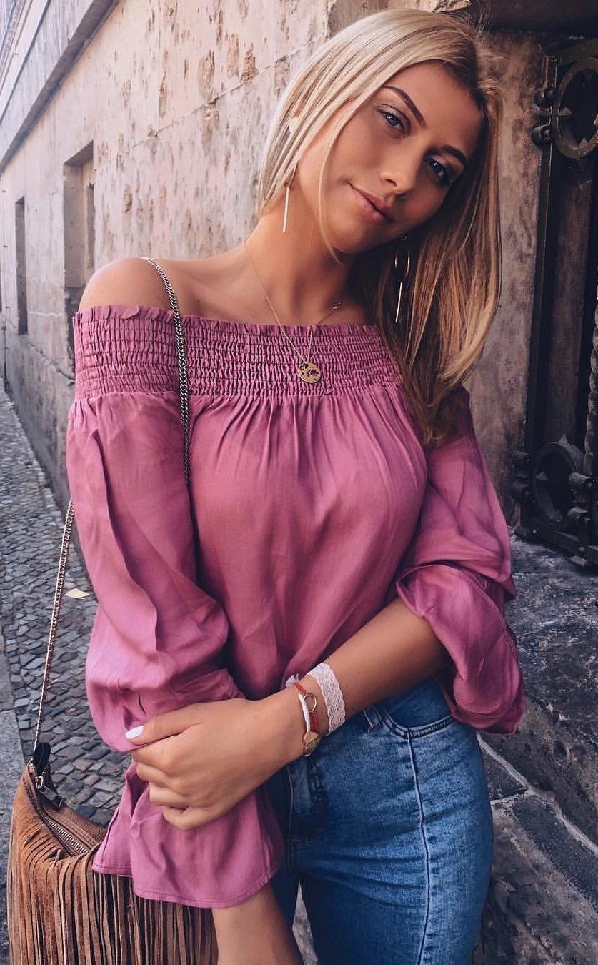 140d8fe6cca5  fall  outfits women s purple off-shoulder shirt and blue denim bottoms