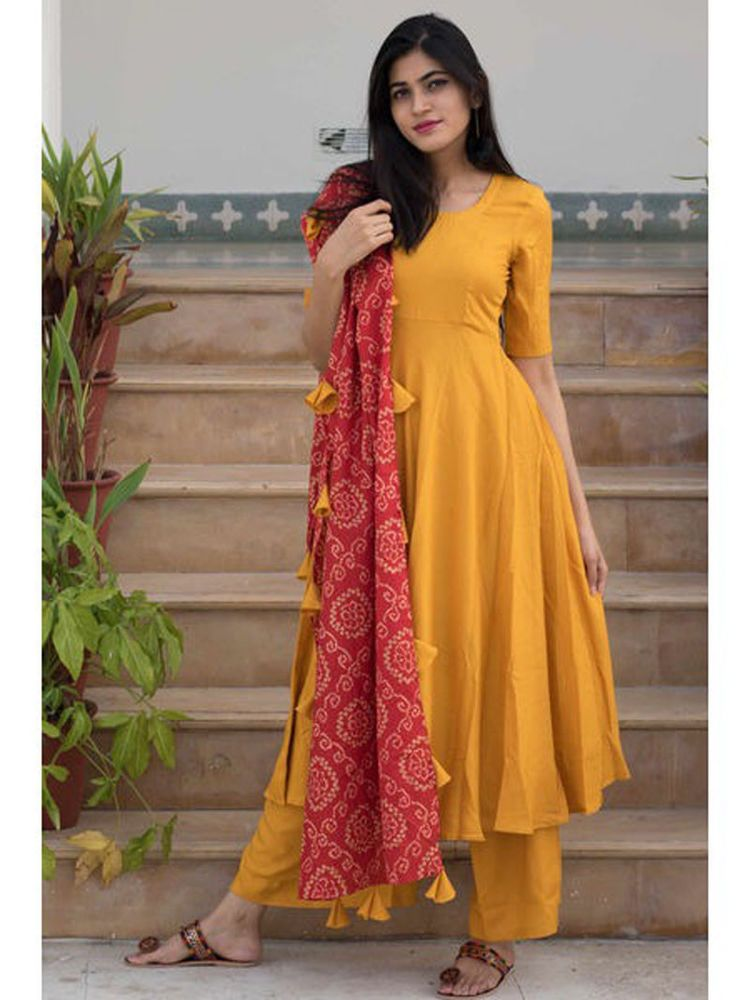 639d5f84f2 #Indian #Designer #Readymade #Yellow Salwar Kameez #Ethnic Wear Palazzo  Stiched Suit