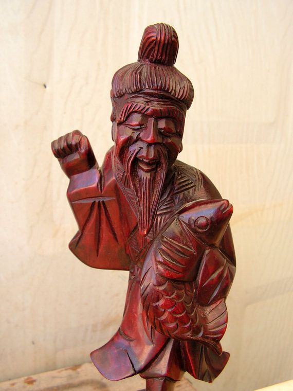 """Wooden Carved Asian Figure 9/"""" Tall"""
