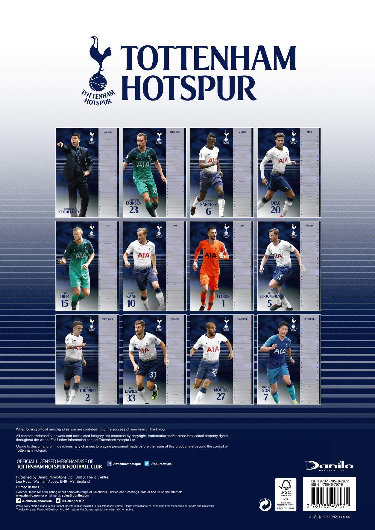 The Official Tottenham Hotspur F C Calendar 2019 Calendar Wall