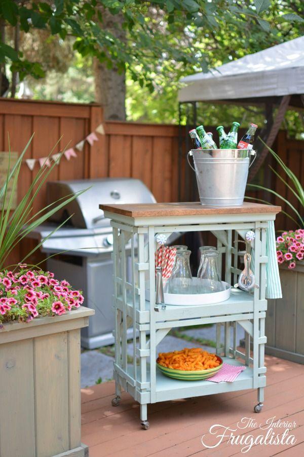 outdoor portable beverage bar cart