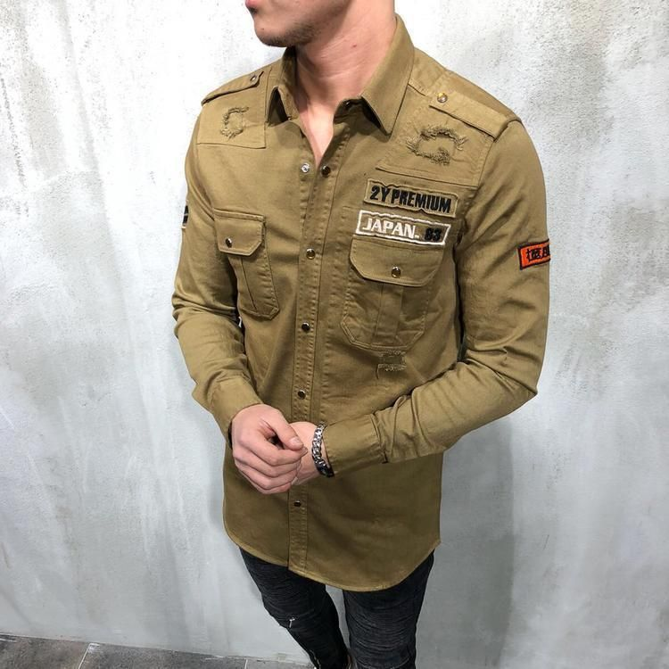 d47731b4a6a Military Ripped Cargo Shirt in 2019