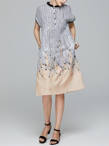 NewChic - NewChic Miting Loose Printed Turn-Down Collar Women Dresses - AdoreWe.com