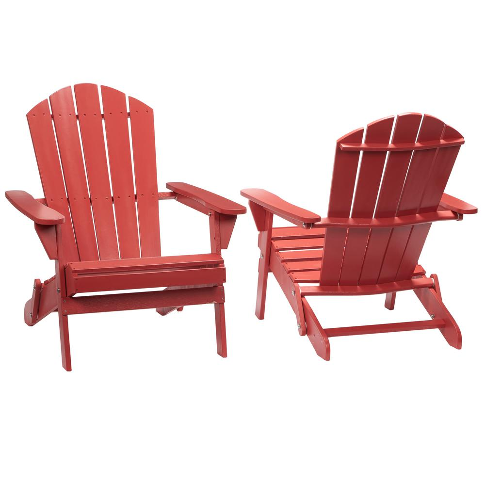 Hampton Bay Chili Red Folding Outdoor Adirondack Chair Pack in