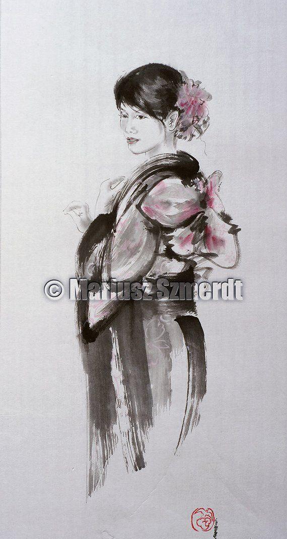 Geisha Painting Japanese Women Painting Sumi E Women Painting