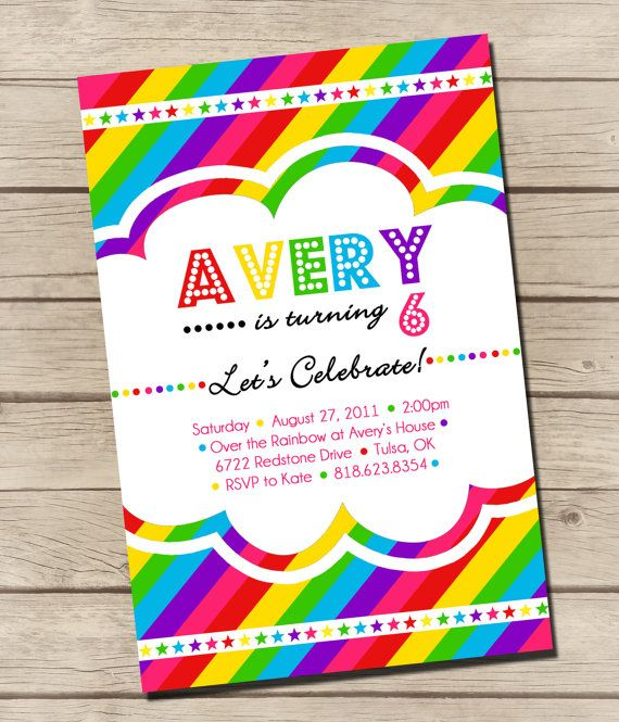 digital rainbow birthday party invitation by urbanfrontiers 12 00