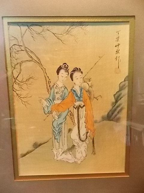 Vintage Japanese Watercolor Painting On Silk Of Two Women In A