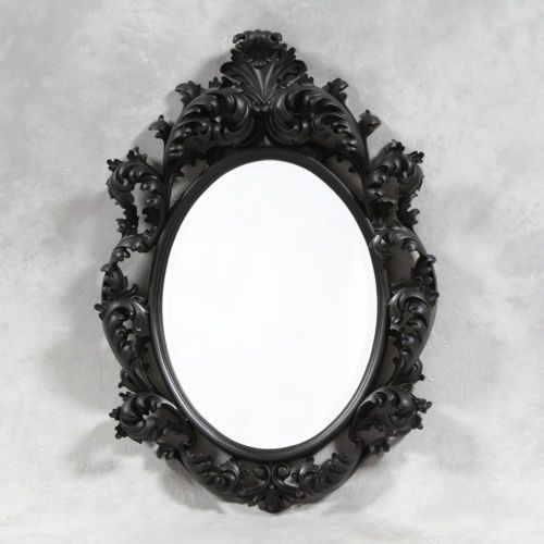 Fabulous large black framed rococo style oval mirror - new   Rococo ...