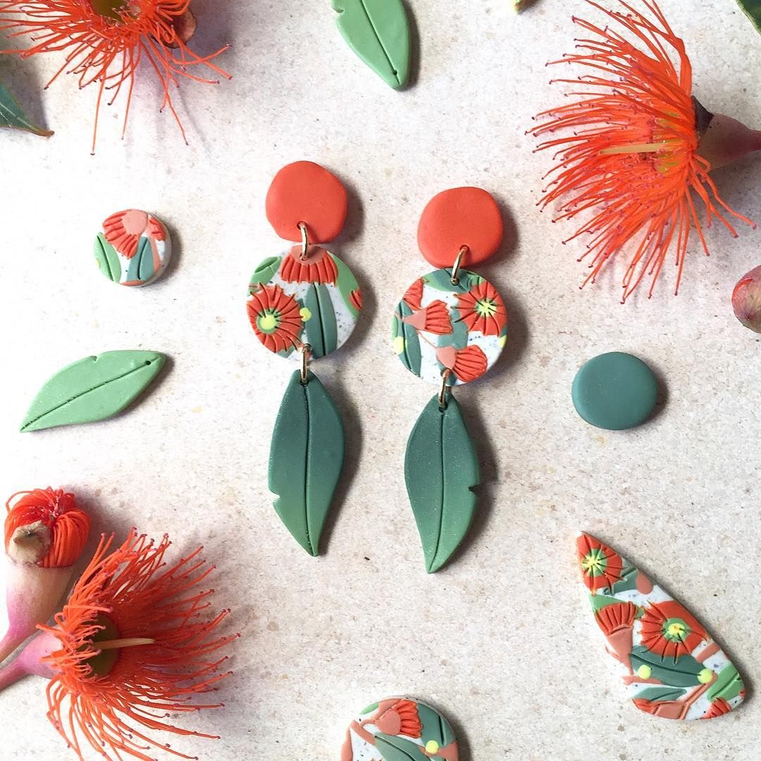 Orange And Green Clay Earrings Nature Inspired Earrings Flower Texture Earrings Polymer Clay Earrings