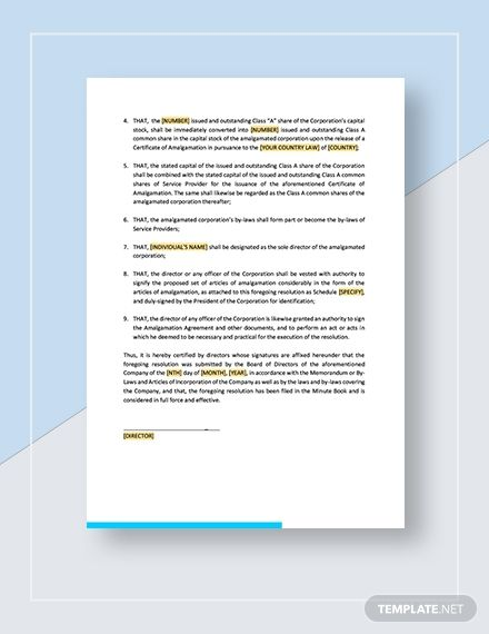 Board Resolution Approving Amalgamation Templates Lettering Words