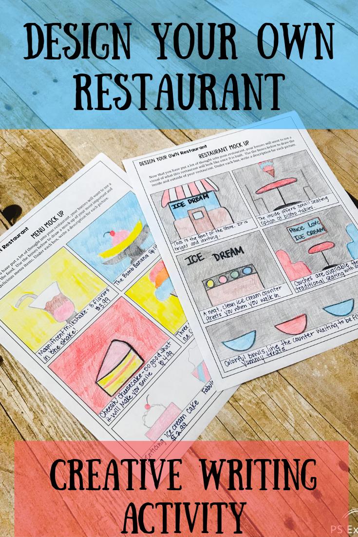 Design Your Own Restaurant Writing Activity Creative Writing Activities Creative Writing Classes Fun Writing Activities
