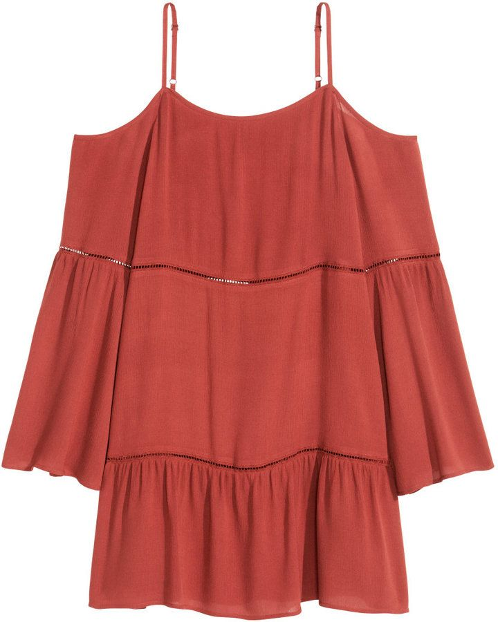 H&M - Off-the-shoulder Dress - Rust - Ladies