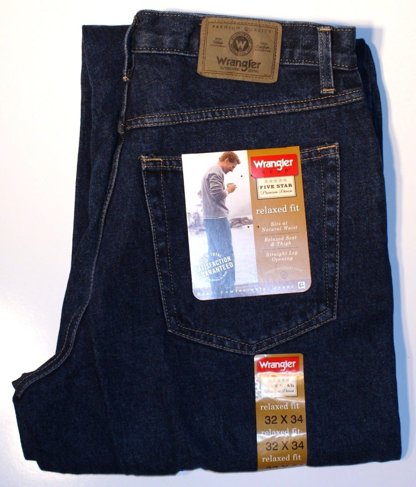 892c0a95 New Wrangler Five Star Mens Relaxed Fit Jeans Indigo Denim Color All Sizes