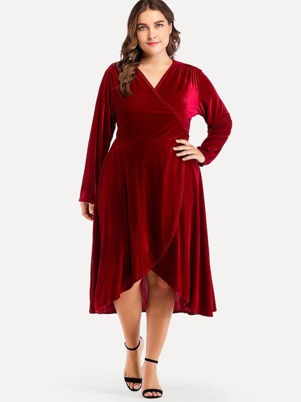 Plus Surplice Front Solid Dress   SHEIN IL   Elegant ...