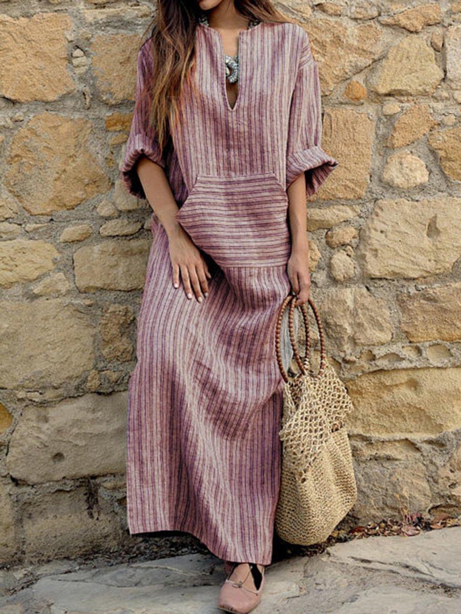 88da7d3049 JustFashionNow Plus Size V neck Women Summer Dress Sheath Dress Half Sleeve  Elegant Linen Paneled Plain Dress