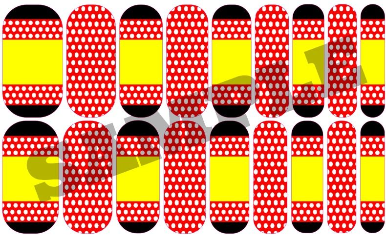 Minnie Mouse-inspired nail wraps designed on Jamberry's Nail Art Studio (NAS). Order this and other beautiful wraps at http://jenniferrosenfeld.jamberrynails.net