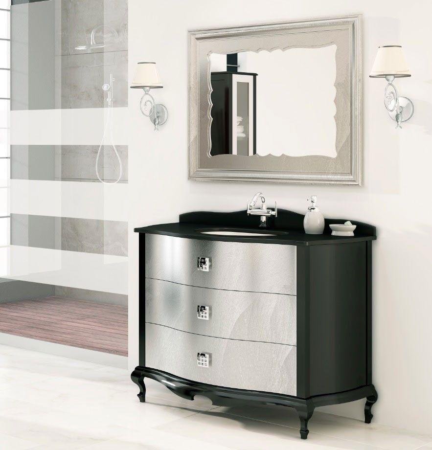 Mueble de ba o 3 cajones roma negro y plata muebles de ba o pinterest muebles de ba o - Mueble bano negro ...