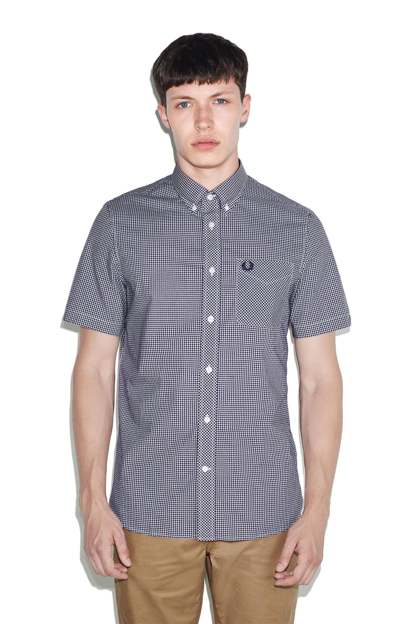 337ed53a6 Fred Perry - Classic Gingham Short Sleeve Shirt Medieval Blue ...