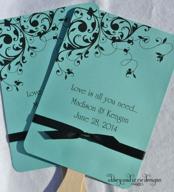 Tiffany Blue Wedding Fans Personalized Hand Outdoor Ideas