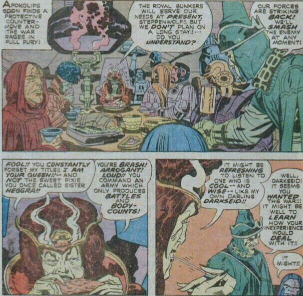 Darkseid Makes His Play For Power While His Mother Heggra Talks With Her Brother General Steppenwolf As Desaad Listens Darkseid New Gods Her Brother